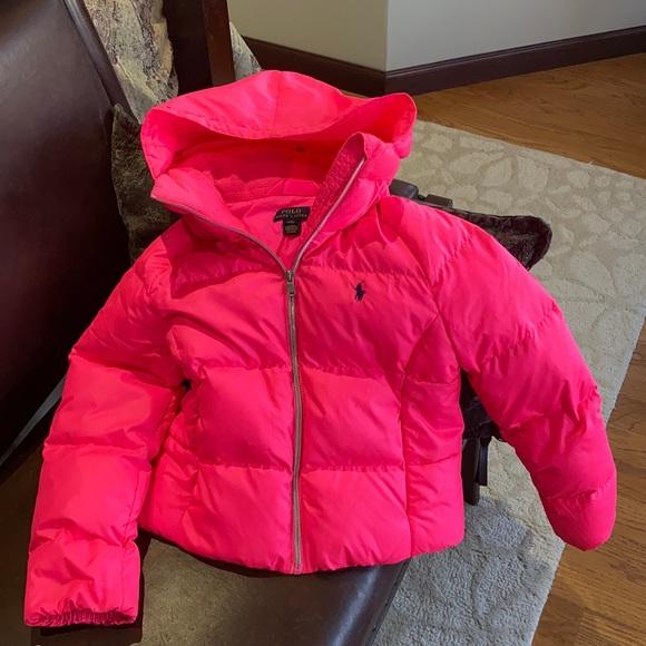 Polo kids hot pink puffer jacket